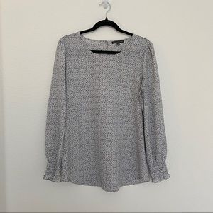 Adrianna Papell Long Sleeve Formal Blouse White w Black Speck Pattern Size M